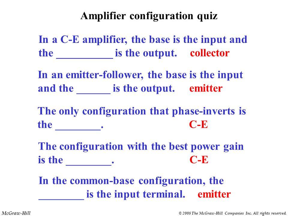 McGraw-Hill © 2008 The McGraw-Hill Companies Inc. All rights reserved. PNP C-E amplifier 47 1 k 1.5 k 22 k 10 k + 12 V V B = - 3.75 V V E = - 3.05 V I