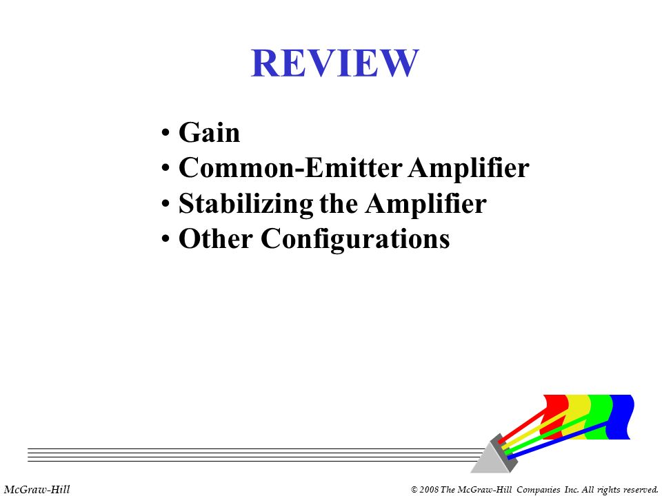McGraw-Hill © 2008 The McGraw-Hill Companies Inc. All rights reserved. Concept Review C-E amplifiers are the most widely applied. C-E amplifiers are t
