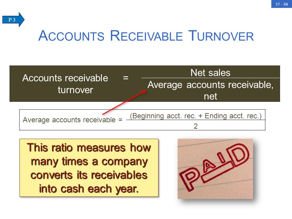17 - 24 This ratio measures how many times a company converts its receivables into cash each year. A CCOUNTS R ECEIVABLE T URNOVER Accounts receivable
