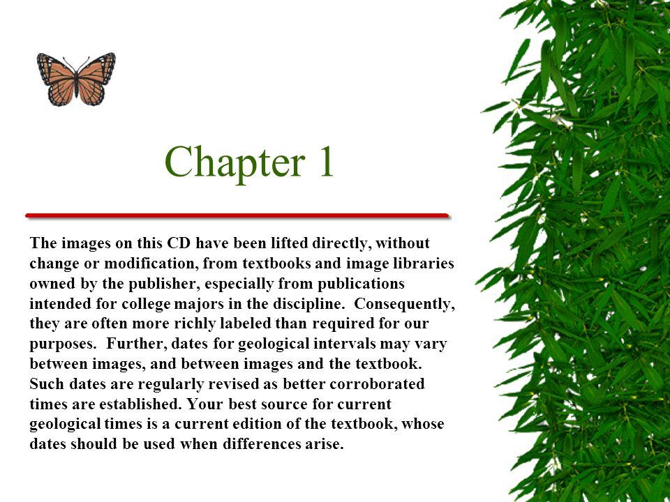 Chapter 1 The images on this CD have been lifted directly, without change or modification, from textbooks and image libraries owned by the publisher,
