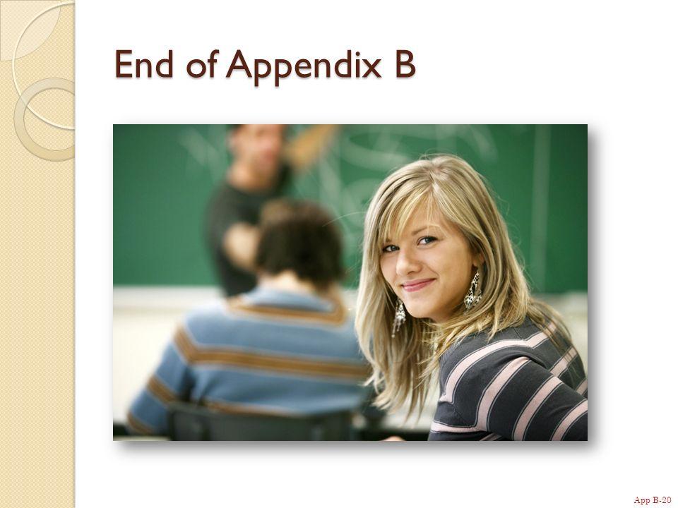 App B-20 End of Appendix B