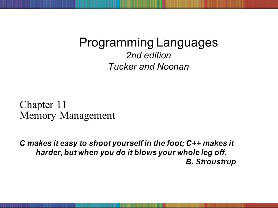 Copyright © 2006 The McGraw-Hill Companies, Inc. Programming Languages 2nd edition Tucker and Noonan Chapter 11 Memory Management C makes it easy to s
