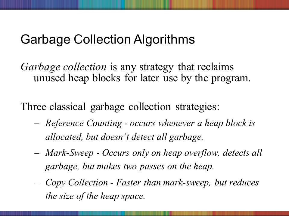 Copyright © 2006 The McGraw-Hill Companies, Inc. Garbage Collection Algorithms Garbage collection is any strategy that reclaims unused heap blocks for