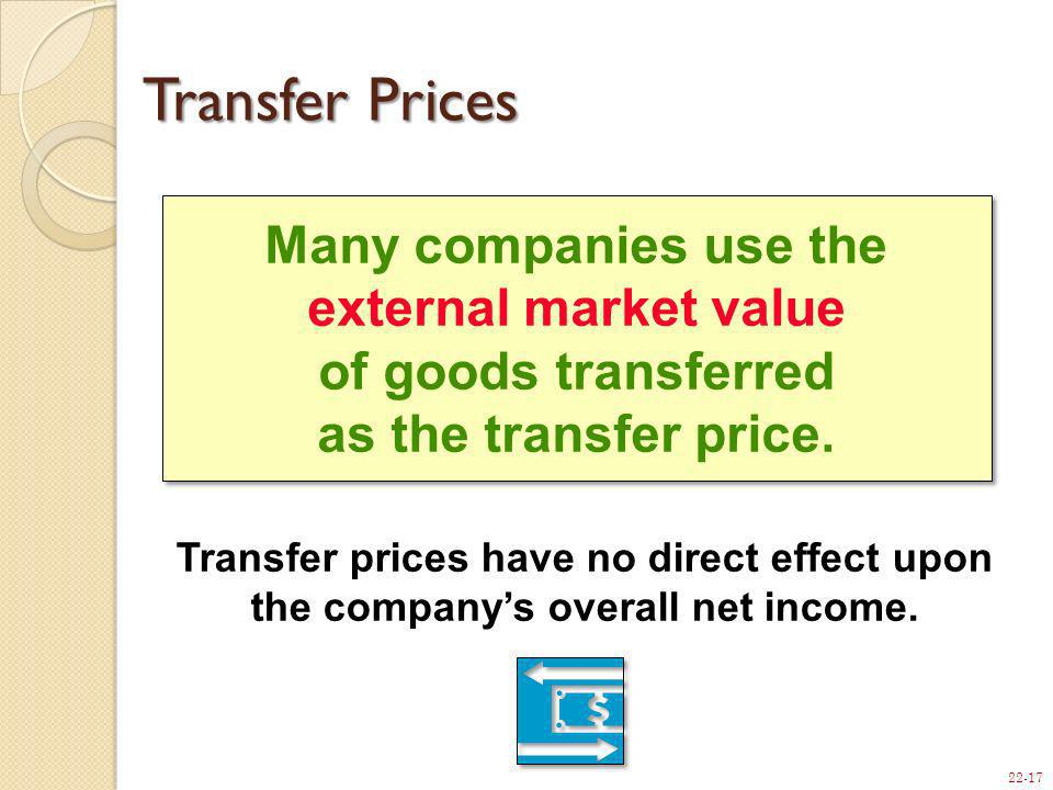 22-17 Many companies use the external market value of goods transferred as the transfer price. Transfer Prices Transfer prices have no direct effect u