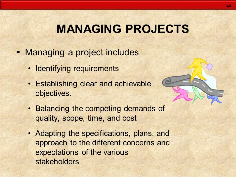 44 MANAGING PROJECTS Managing a project includes Identifying requirements Establishing clear and achievable objectives. Balancing the competing demand