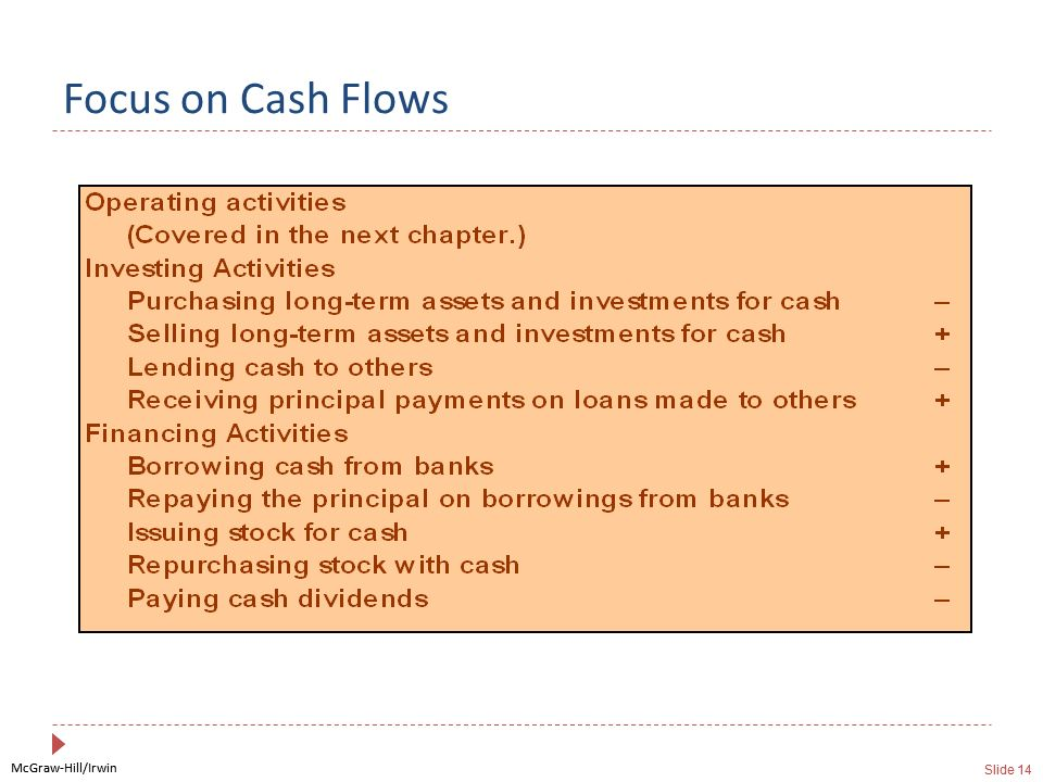 McGraw-Hill/Irwin Slide 14 McGraw-Hill/Irwin Slide 14 Focus on Cash Flows