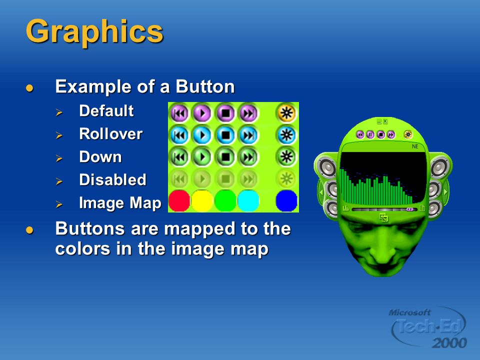 Graphics Example of a Button Example of a Button Default Default Rollover Rollover Down Down Disabled Disabled Image Map Image Map Buttons are mapped