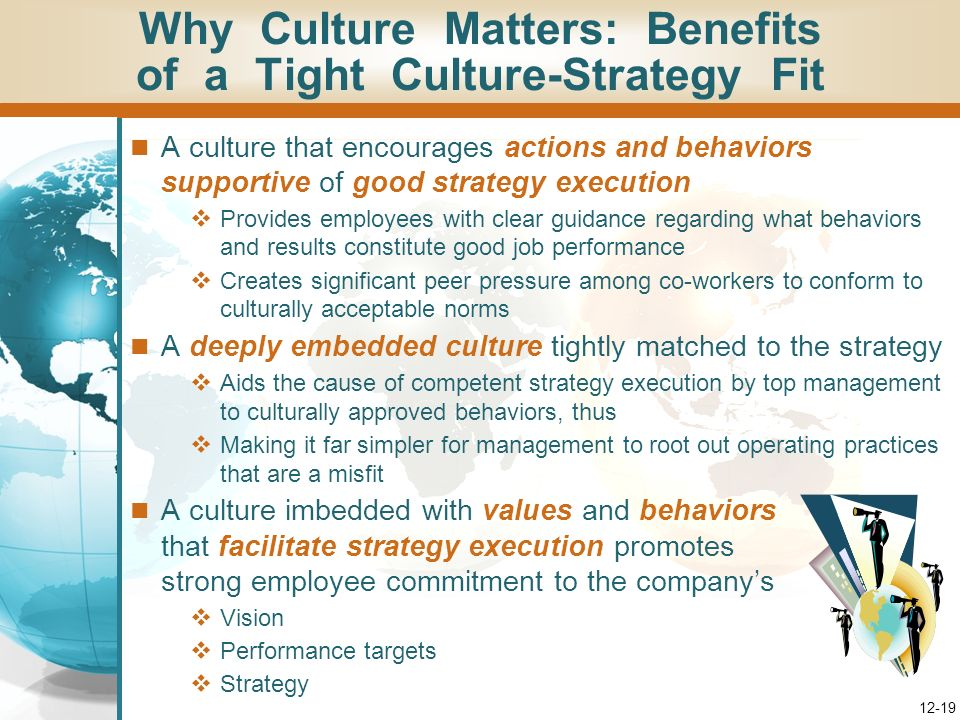 12-18 A companys culture can contribute to – or hinder – successful strategy execution A culture that promotes attitudes and behaviors that are well-s