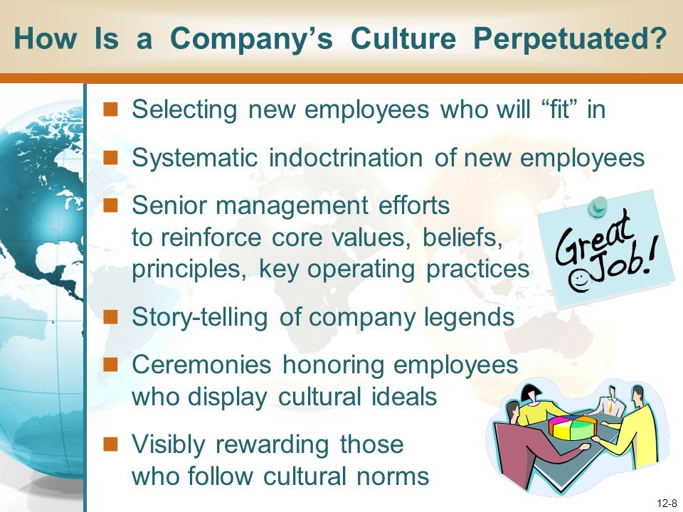 12-8 Selecting new employees who will fit in Systematic indoctrination of new employees Senior management efforts to reinforce core values, beliefs, principles, key operating practices Story-telling of company legends Ceremonies honoring employees who display cultural ideals Visibly rewarding those who follow cultural norms How Is a Companys Culture Perpetuated?