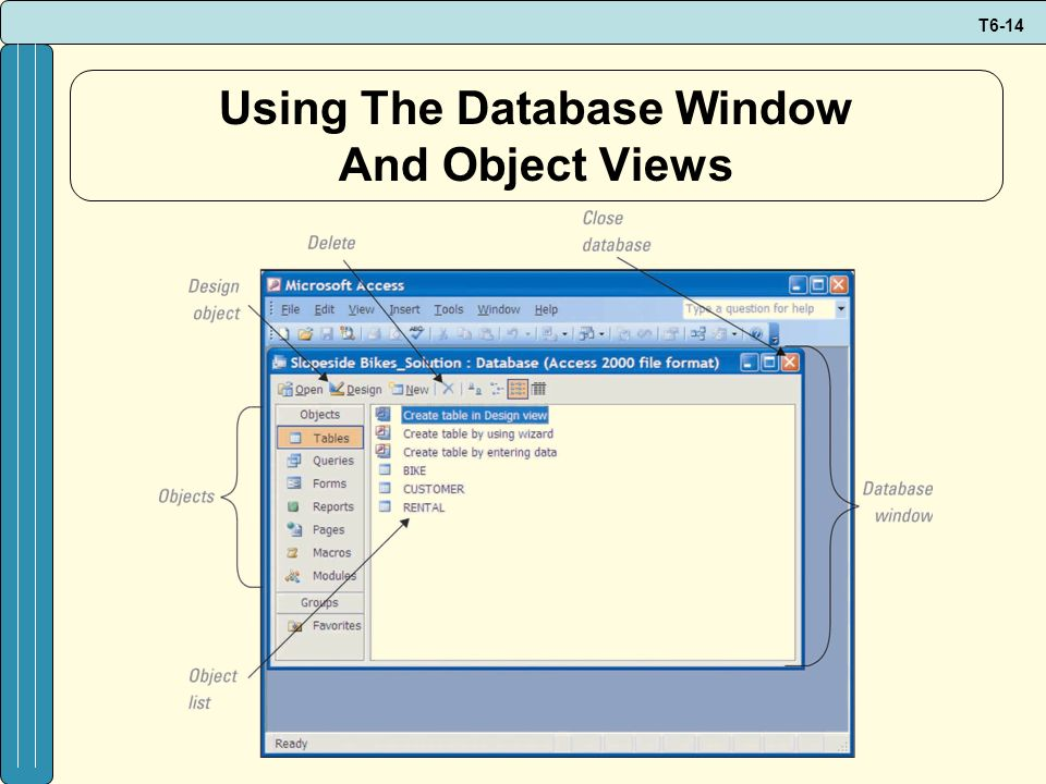 T6-14 Using The Database Window And Object Views