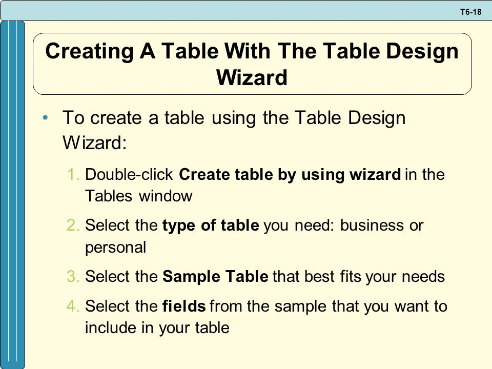 T6-18 Creating A Table With The Table Design Wizard To create a table using the Table Design Wizard: 1.Double-click Create table by using wizard in th