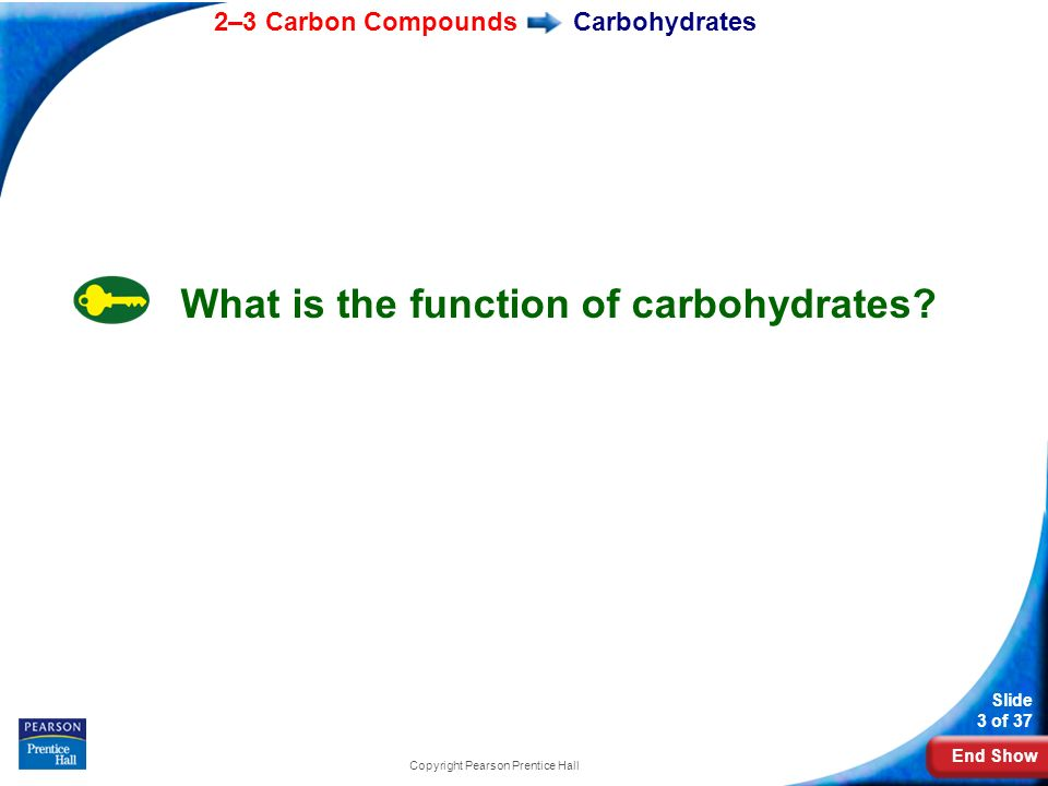 End Show 2–3 Carbon Compounds Slide 3 of 37 Copyright Pearson Prentice Hall Carbohydrates What is the function of carbohydrates?