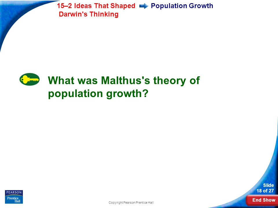 End Show 15–2 Ideas That Shaped Darwin s Thinking Slide 18 of 27 Copyright Pearson Prentice Hall Population Growth What was Malthus s theory of population growth?
