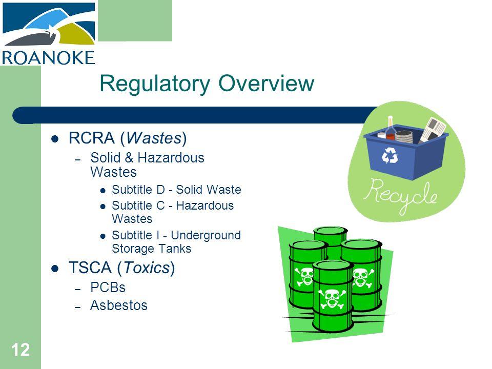 12 Regulatory Overview RCRA (Wastes) – Solid & Hazardous Wastes Subtitle D - Solid Waste Subtitle C - Hazardous Wastes Subtitle I - Underground Storag