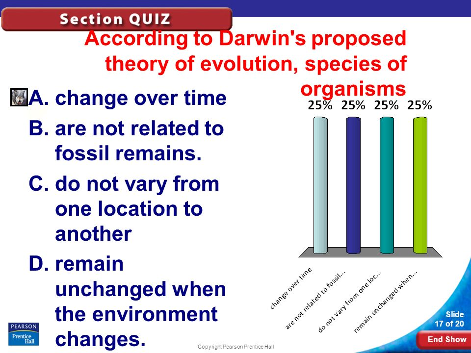 End Show Slide 17 of 20 According to Darwin's proposed theory of evolution, species of organisms A.change over time B.are not related to fossil remain