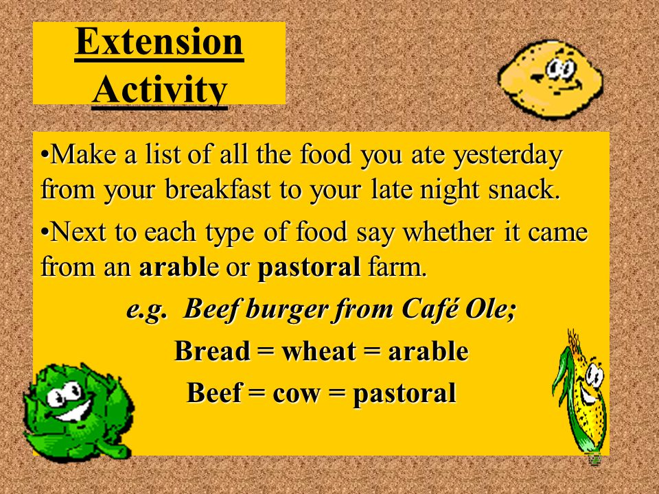 Extension Activity Make a list of all the food you ate yesterday from your breakfast to your late night snack.Make a list of all the food you ate yesterday from your breakfast to your late night snack.