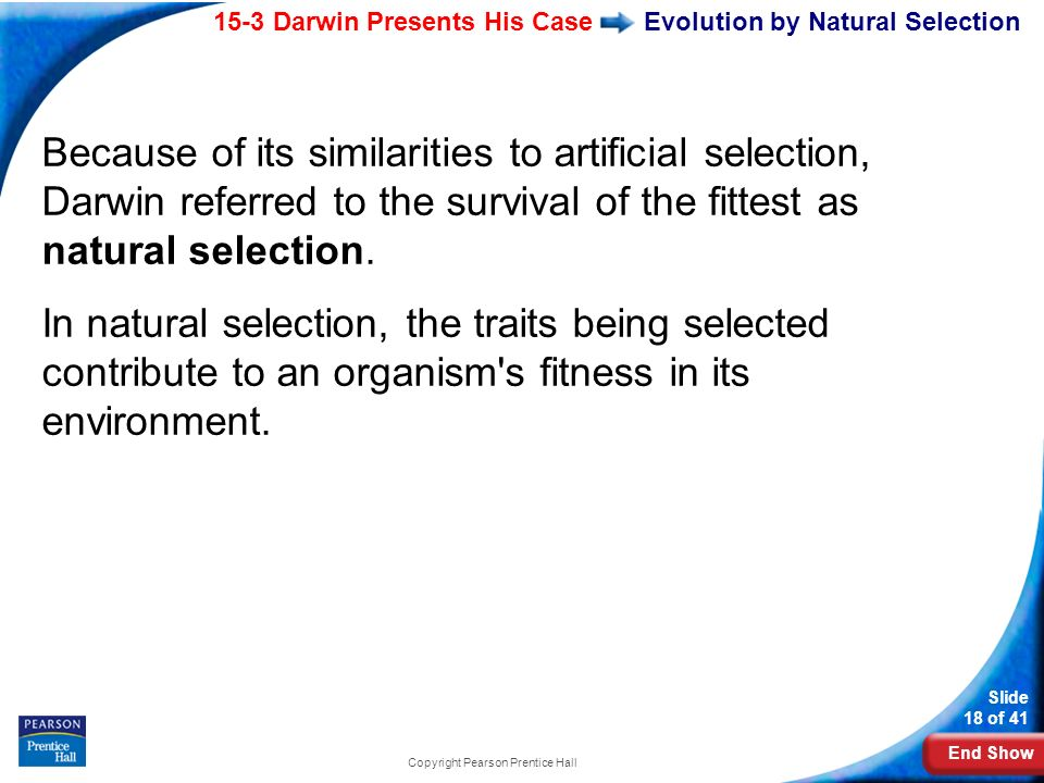 End Show 15-3 Darwin Presents His Case Slide 18 of 41 Copyright Pearson Prentice Hall Evolution by Natural Selection Because of its similarities to ar