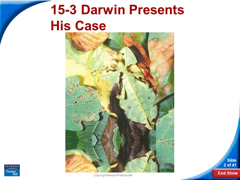 End Show Slide 2 of 41 Copyright Pearson Prentice Hall 15-3 Darwin Presents His Case