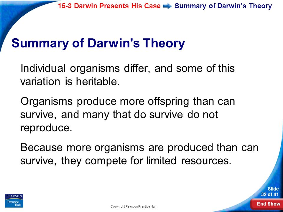 End Show 15-3 Darwin Presents His Case Slide 32 of 41 Copyright Pearson Prentice Hall Summary of Darwin's Theory Individual organisms differ, and some