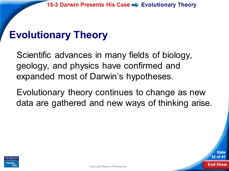 End Show 15-3 Darwin Presents His Case Slide 35 of 41 Copyright Pearson Prentice Hall Evolutionary Theory Scientific advances in many fields of biolog