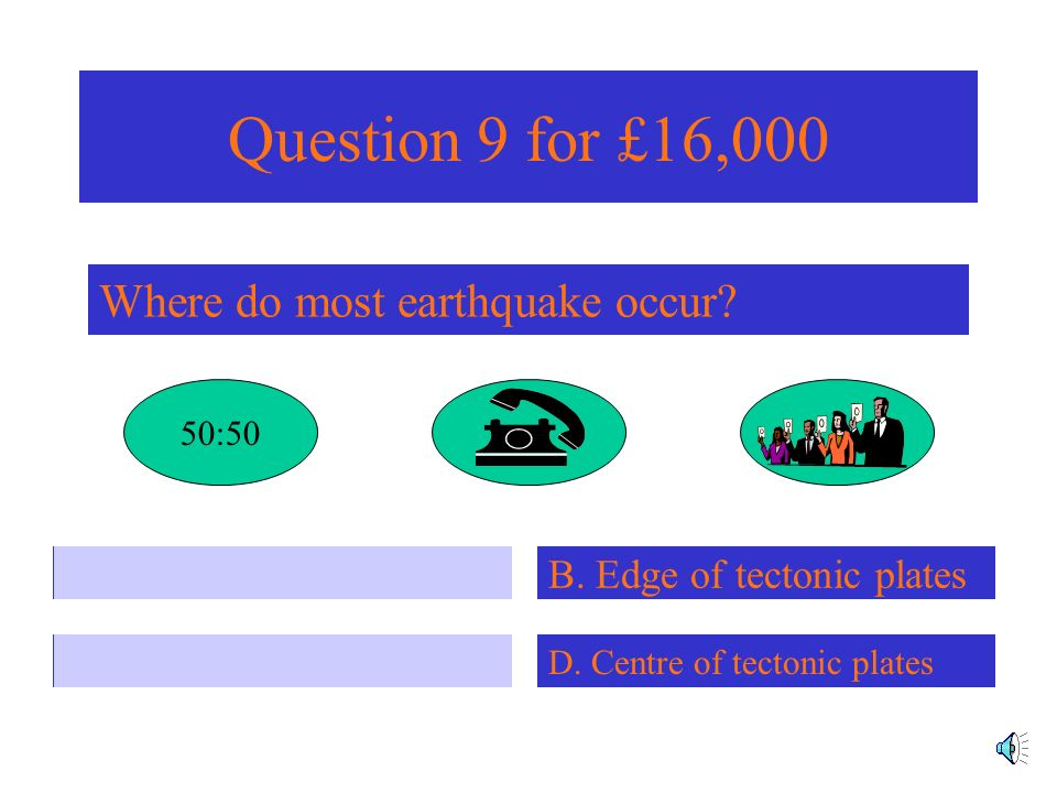 Question 8 for £8,000 Which of the following is an earthquake that has occurred in an MEDC? A. 1995 Kobe D. 1997 Iranian Earthquake C. 2001 Gujarat B.