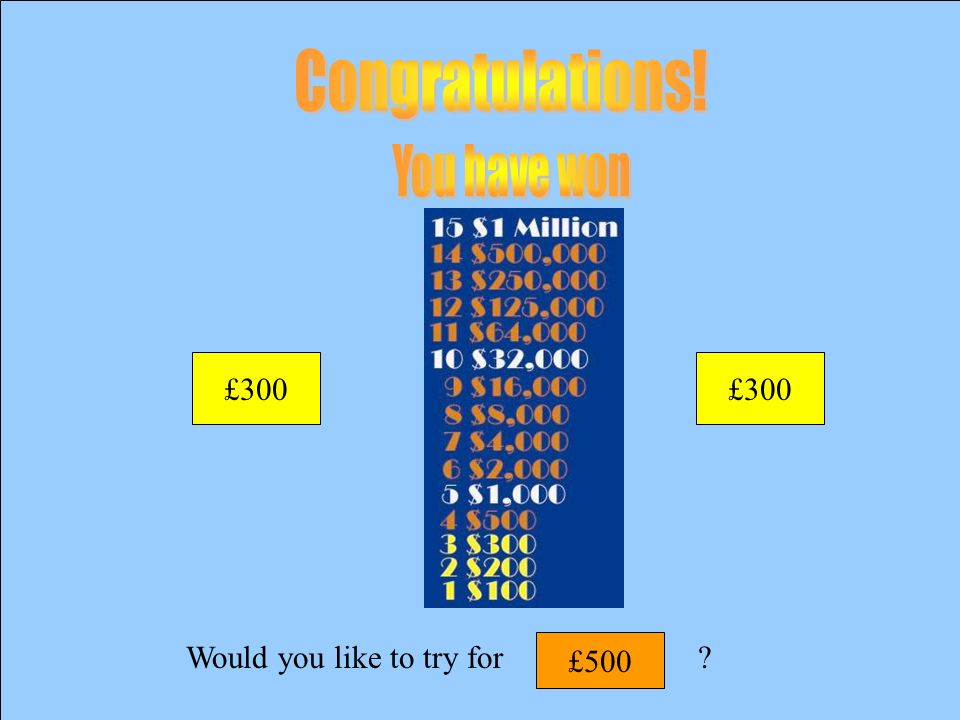 Would you like to try for? £300 £200