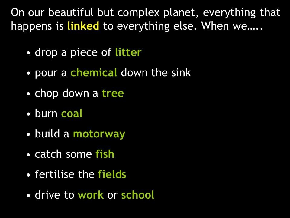 On our beautiful but complex planet, everything that happens is linked to everything else. When we….. drop a piece of litter pour a chemical down the