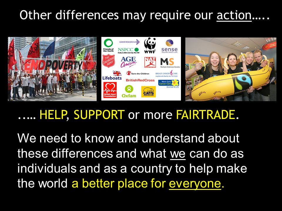 Other differences may require our action…....… HELP, SUPPORT or more FAIRTRADE. We need to know and understand about these differences and what we can