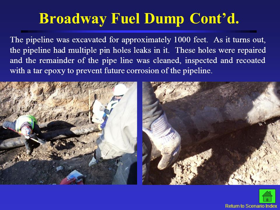 Broadway Fuel Dump Contd. Click for next slide Hard boom in the ice and staining at the edge of the ice Gas VaporHard boom on the ice Free Product in