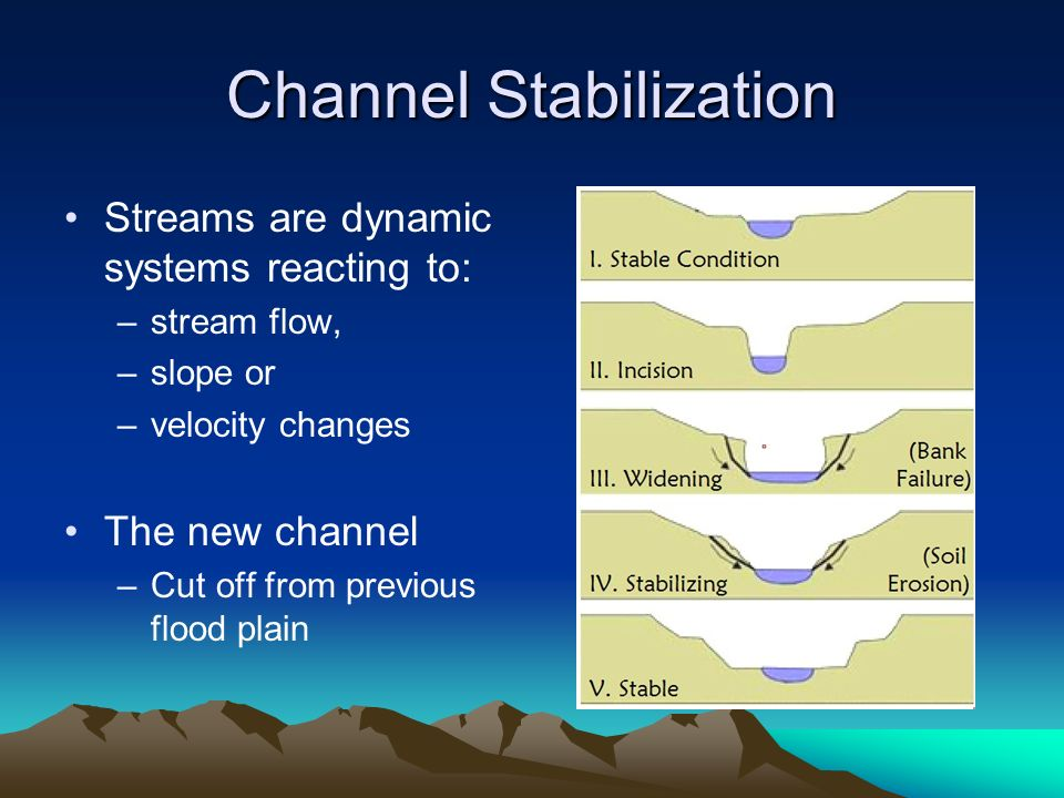 Channel Stabilization Streams are dynamic systems reacting to: –stream flow, –slope or –velocity changes The new channel –Cut off from previous flood