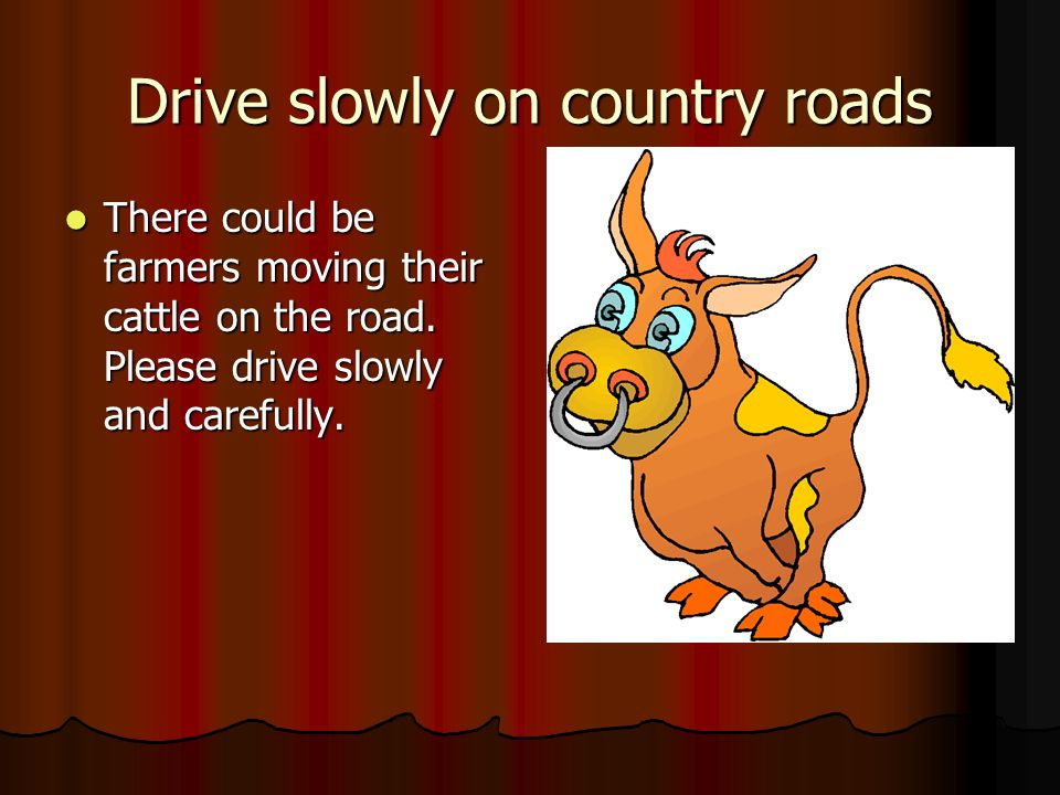 Drive slowly on country roads There could be farmers moving their cattle on the road. Please drive slowly and carefully. There could be farmers moving