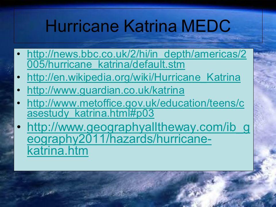 Hurricane Katrina MEDC http://news.bbc.co.uk/2/hi/in_depth/americas/2 005/hurricane_katrina/default.stmhttp://news.bbc.co.uk/2/hi/in_depth/americas/2 005/hurricane_katrina/default.stm http://en.wikipedia.org/wiki/Hurricane_Katrina http://www.guardian.co.uk/katrina http://www.metoffice.gov.uk/education/teens/c asestudy_katrina.html#p03http://www.metoffice.gov.uk/education/teens/c asestudy_katrina.html#p03 http://www.geographyalltheway.com/ib_g eography2011/hazards/hurricane- katrina.htmhttp://www.geographyalltheway.com/ib_g eography2011/hazards/hurricane- katrina.htm
