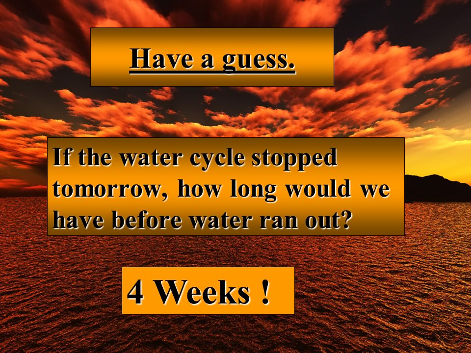 Have a guess. If the water cycle stopped tomorrow, how long would we have before water ran out.