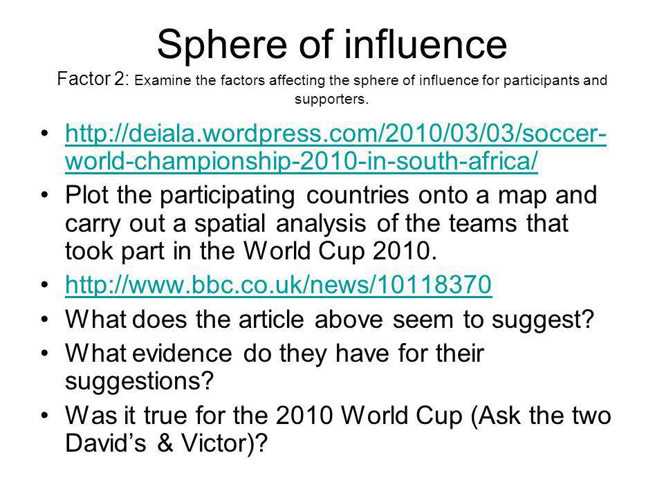 Sphere of influence Factor 2: Examine the factors affecting the sphere of influence for participants and supporters.
