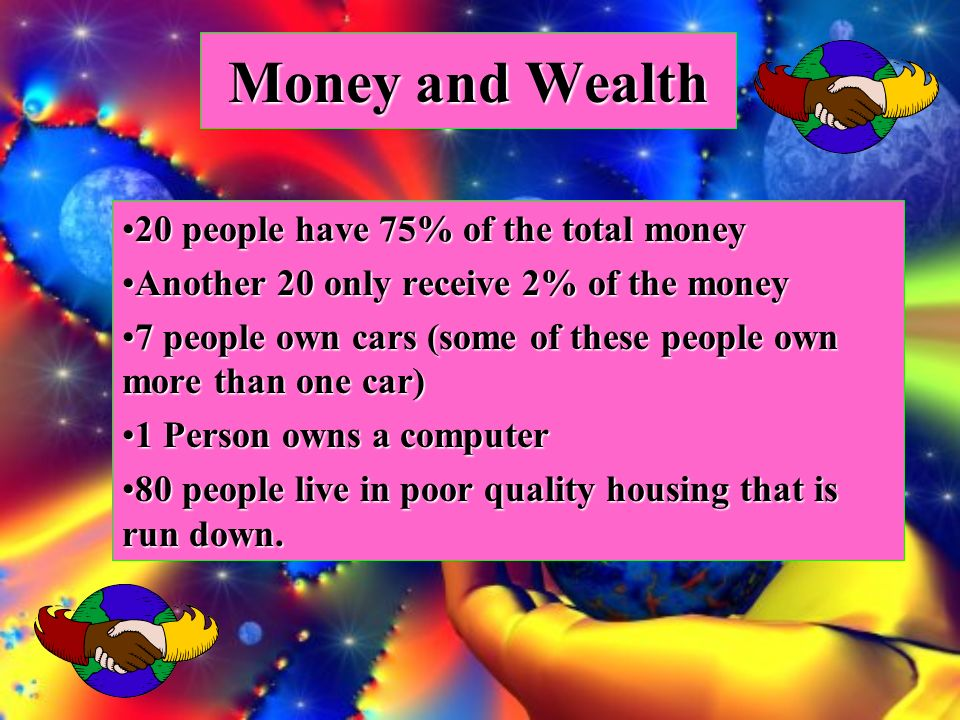 Money and Wealth 20 people have 75% of the total money20 people have 75% of the total money Another 20 only receive 2% of the moneyAnother 20 only receive 2% of the money 7 people own cars (some of these people own more than one car)7 people own cars (some of these people own more than one car) 1 Person owns a computer1 Person owns a computer 80 people live in poor quality housing that is run down.80 people live in poor quality housing that is run down.