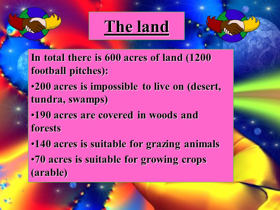 The land In total there is 600 acres of land (1200 football pitches): 200 acres is impossible to live on (desert, tundra, swamps)200 acres is impossible to live on (desert, tundra, swamps) 190 acres are covered in woods and forests190 acres are covered in woods and forests 140 acres is suitable for grazing animals140 acres is suitable for grazing animals 70 acres is suitable for growing crops (arable)70 acres is suitable for growing crops (arable)