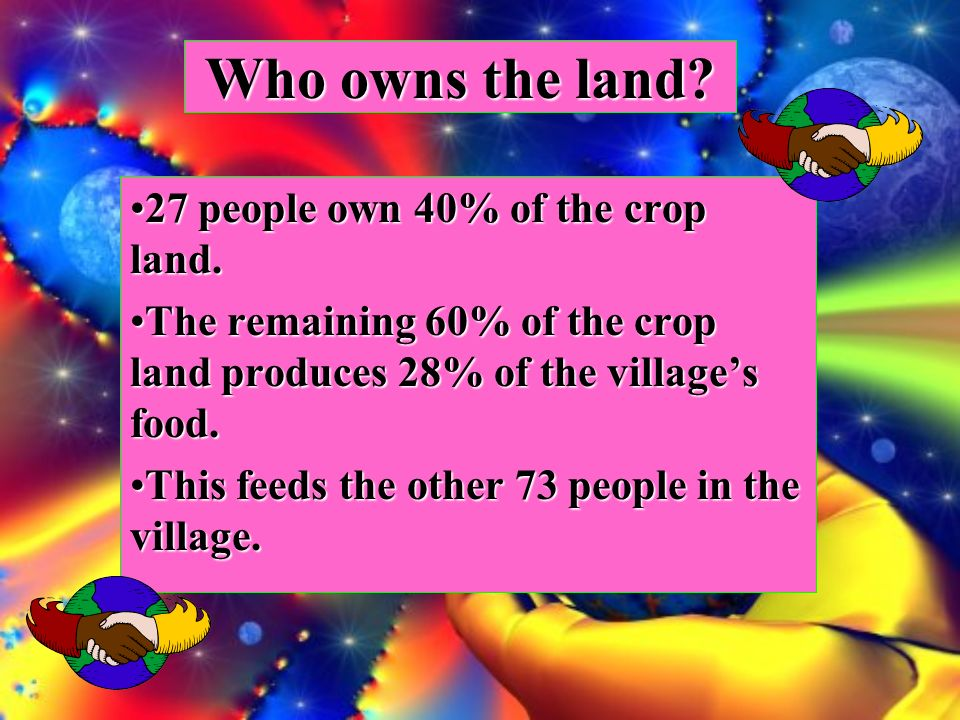 Who owns the land. 27 people own 40% of the crop land.27 people own 40% of the crop land.