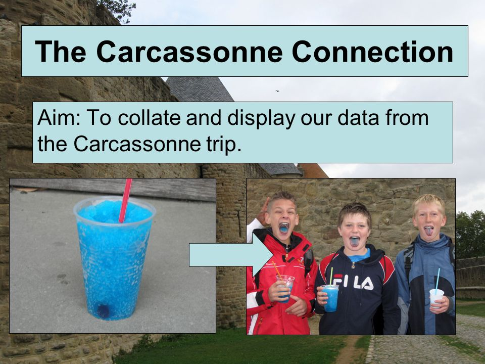 The Carcassonne Connection Aim: To collate and display our data from the Carcassonne trip.