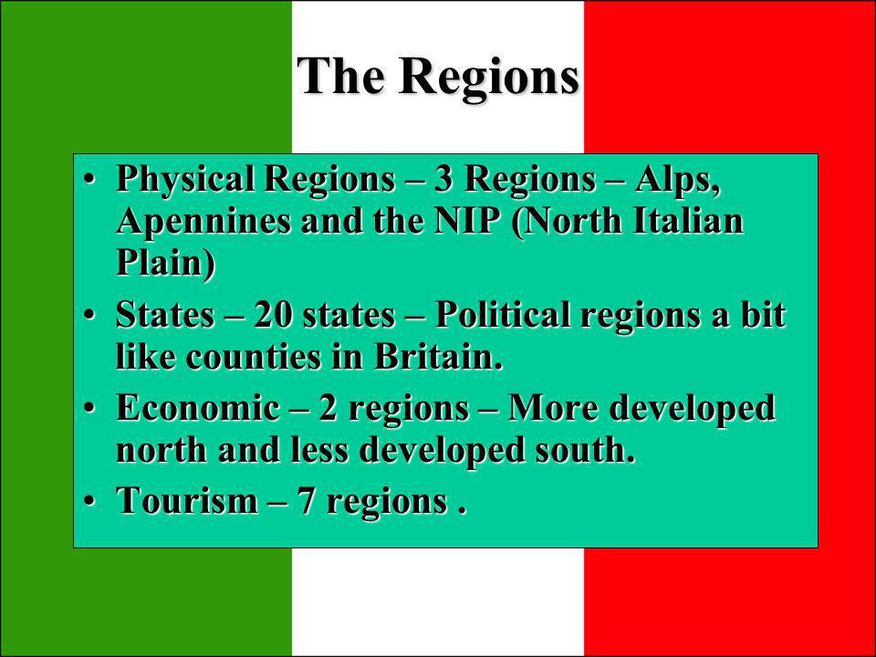 Region 1 Mountains & Lakes Region 2 – North Italy & Venice Region 3 – Italian Riviera Region 4 – Tuscany and Rome Region 5 – Neapolitan Riviera Region 6 – The south Region 7 - SICILY