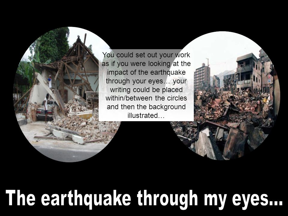 You are asked to write a brief piece of creative writing entitled The earthquake through my eyes by a local journalist.
