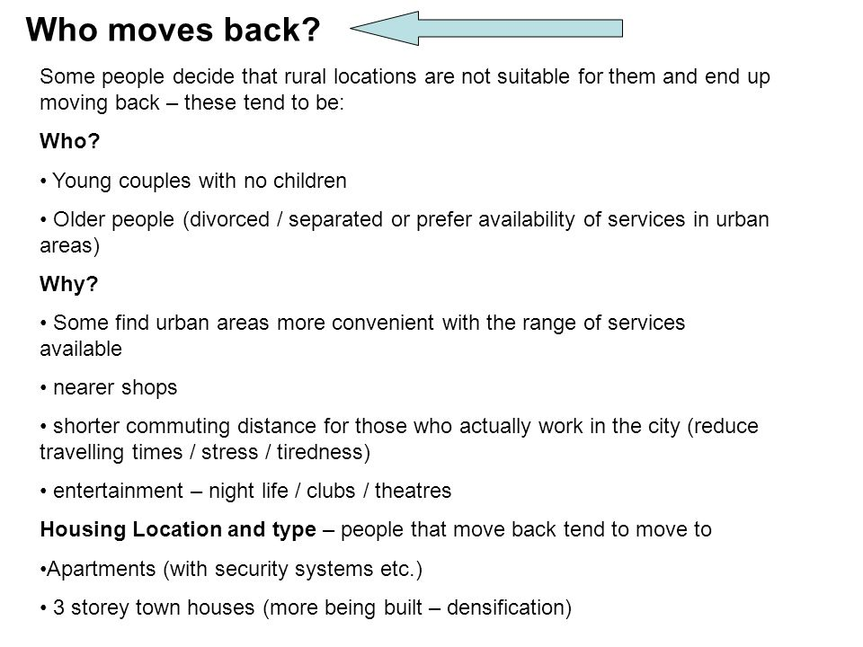 Who moves back.