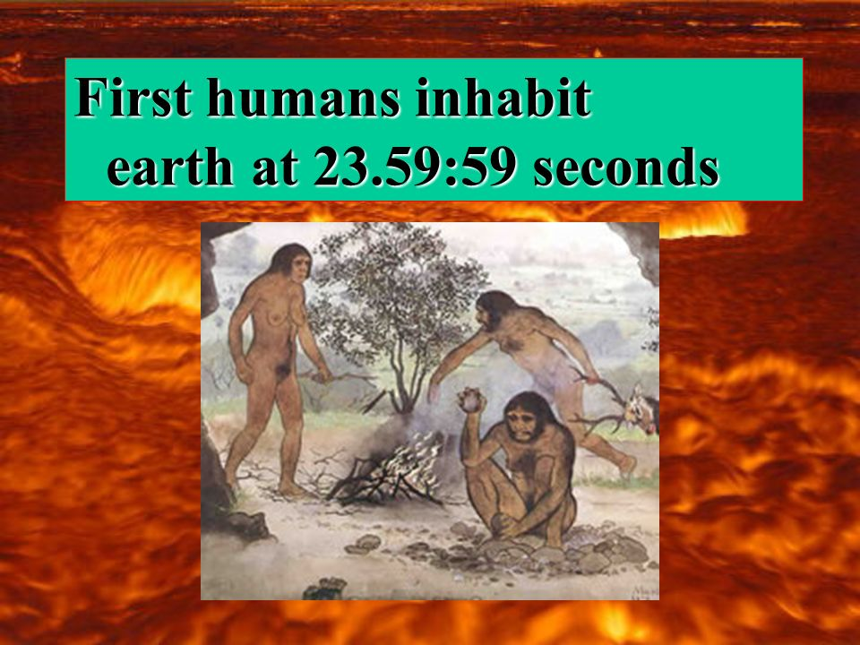 First humans inhabit earth at 23.59:59 seconds