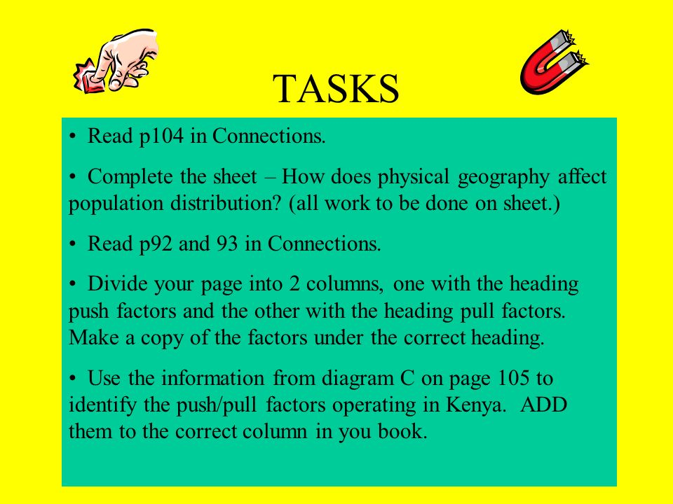 TASKS Read p104 in Connections.