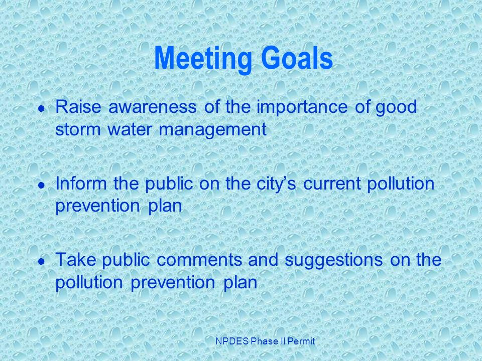 NPDES Phase II Permit Meeting Goals Raise awareness of the importance of good storm water management Inform the public on the citys current pollution