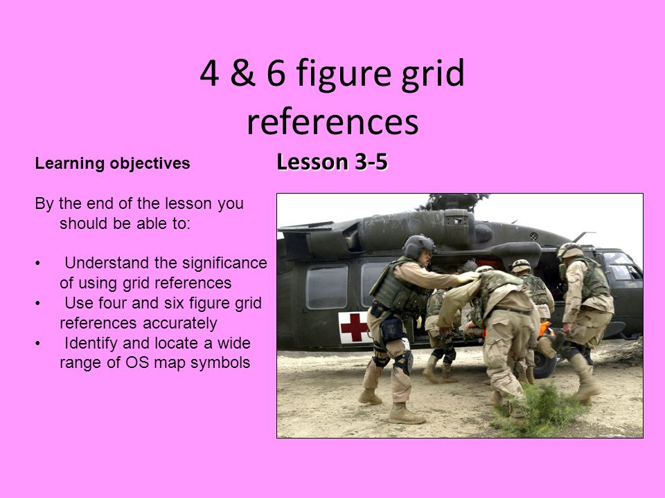 Lesson 3-5 4 & 6 figure grid references Lesson 3-5 Learning objectives By the end of the lesson you should be able to: Understand the significance of