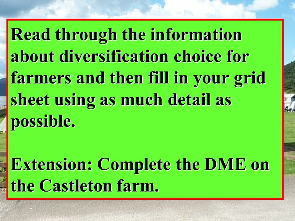 Read through the information about diversification choice for farmers and then fill in your grid sheet using as much detail as possible. Extension: Co