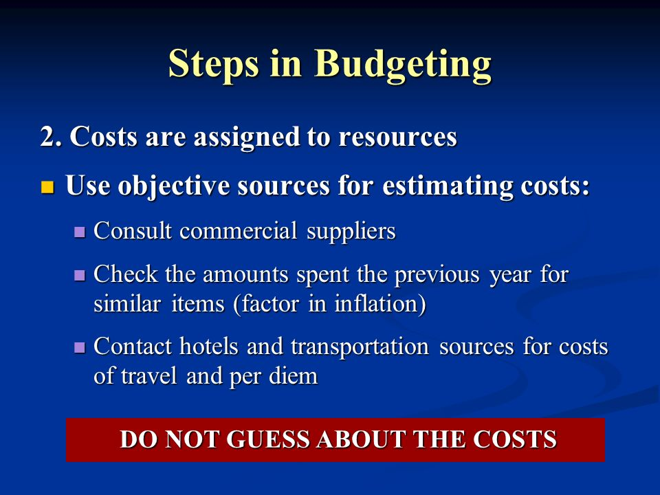 Steps in Budgeting 2. Costs are assigned to resources Use objective sources for estimating costs: Use objective sources for estimating costs: Consult