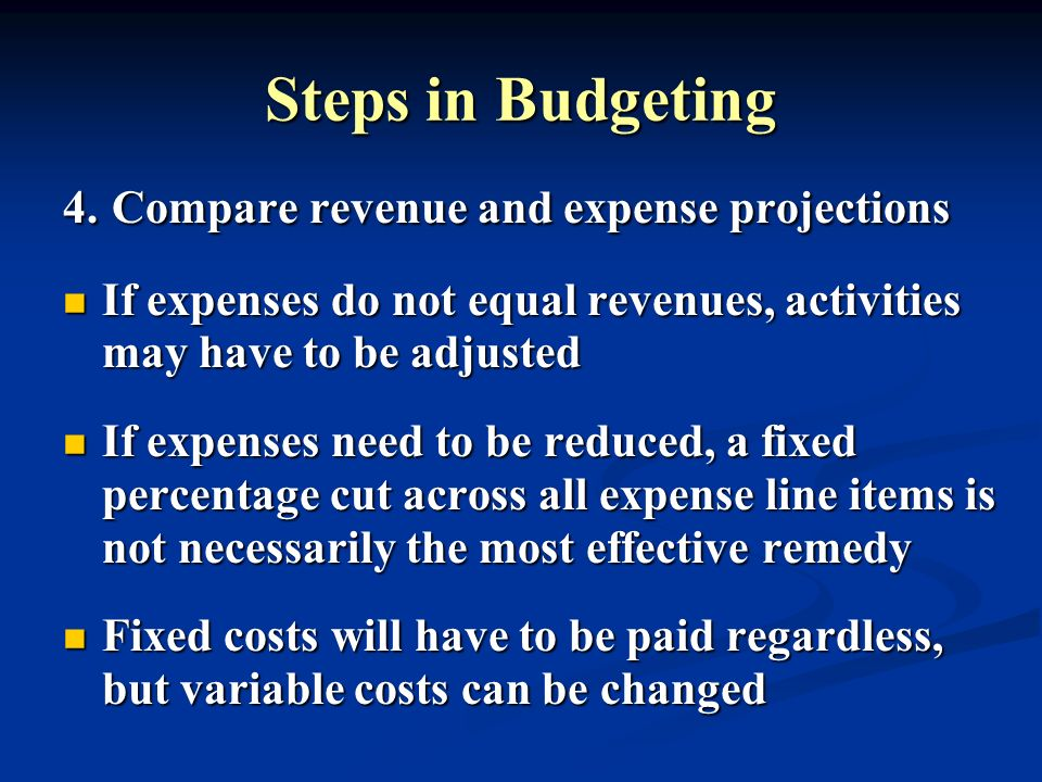 Steps in Budgeting 4. Compare revenue and expense projections If expenses do not equal revenues, activities may have to be adjusted If expenses do not