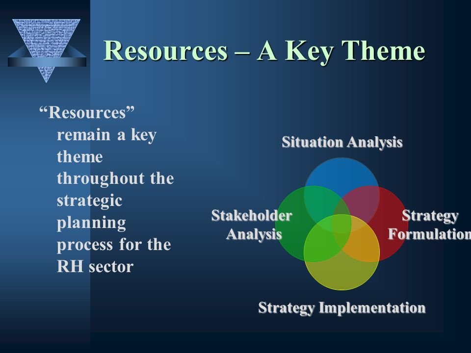 Resources – A Key Theme Resources remain a key theme throughout the strategic planning process for the RH sector