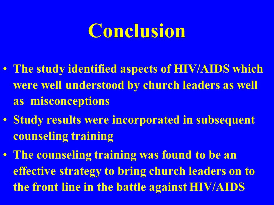 Preachers should teach about HIV/AIDS during sermons HIV/AIDS issues should be incorporated in the existing church agenda Churches should operate in the area of care and support for PLWHAs Home-based care and counseling should be a priority in the church fight against AIDS Interventions suggested by respondents